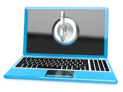Key On Computer Shows Privacy Password Or Unlocking